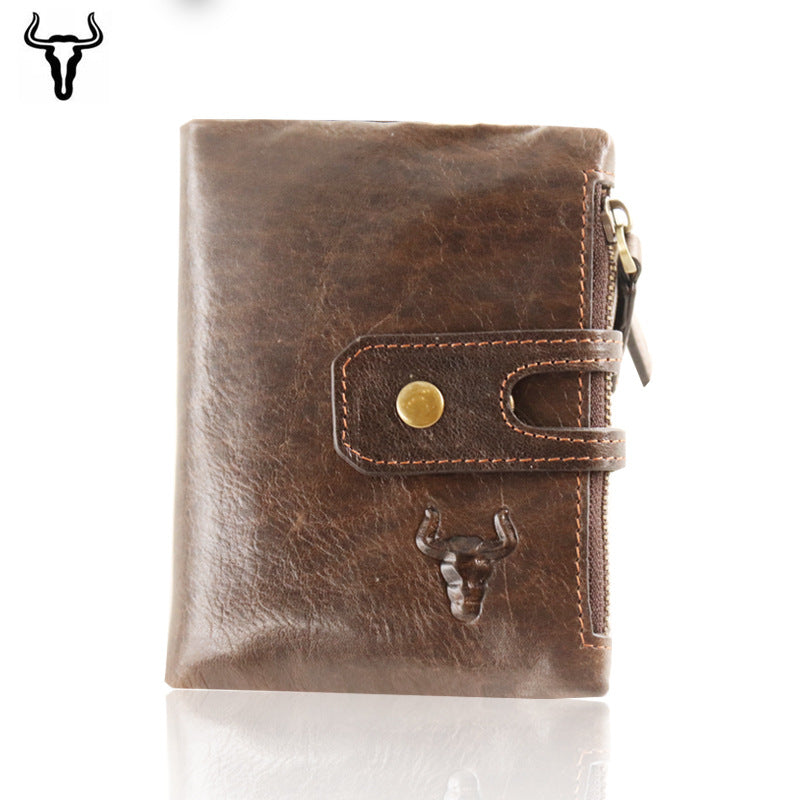 070157a839 Bullcaptain Wallet Men Purse RFID Antimagnetic Vintage Genuine Leather 14  Card Slots Coin Bag High Quality Male Card ID Holder