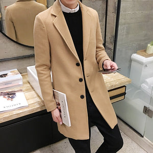 New Winter Woolen Coat Leisure Long Wool Coats Pure Color Casual Fashion Jackets / Casual Men Coat