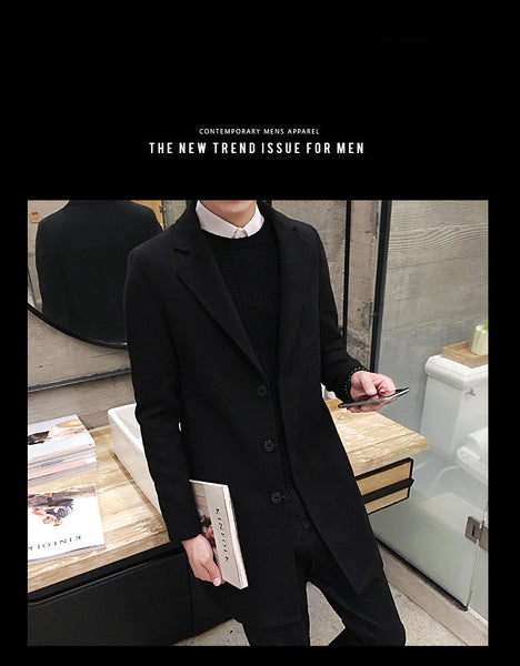 New Winter  Coat Leisure Long Coats Pure Color Casual Fashion Jackets / Casual Men Coat
