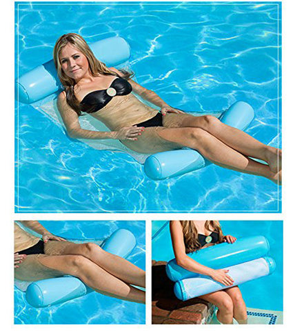 Foldable Water Hammock Pool Party Single People Inflatable Backrest Beach Lounger Swimming Pool Bed Chair
