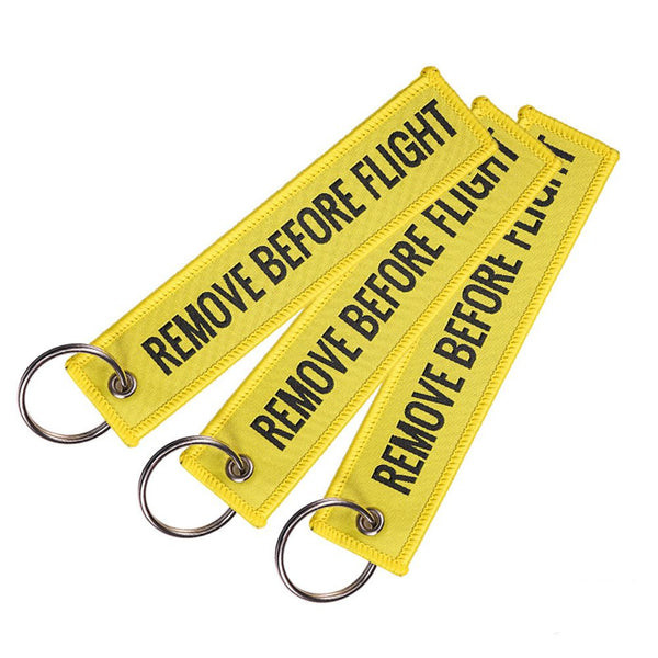 Red Goody Remove Before Flight Embroidered Canvas Luggage Tag Label Key Chain