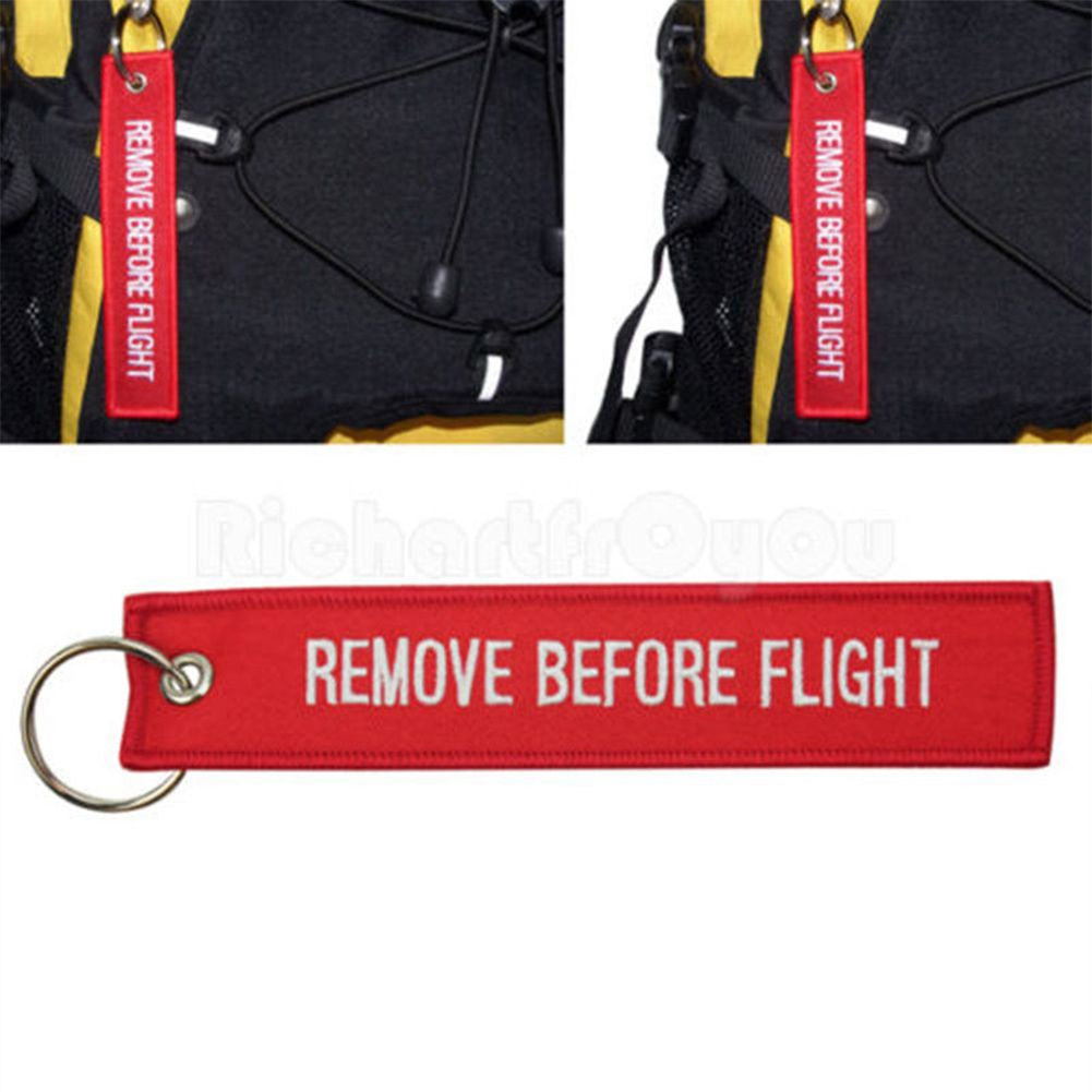 ... Red Goody Remove Before Flight Embroidered Canvas Luggage Tag Label Key  Chain ... 520f45fd9161
