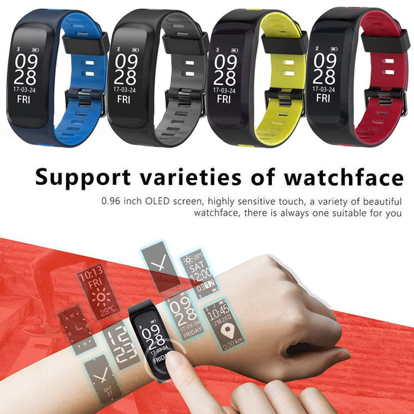 F4 IP68 Waterproof Heart Rate Blood Pressure Fitness Tracker Smart Watch