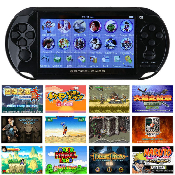 "X9 5.0"" 8G 32Bit Handheld Retro Video Game Console MP3 Player Build-in 10000Game"