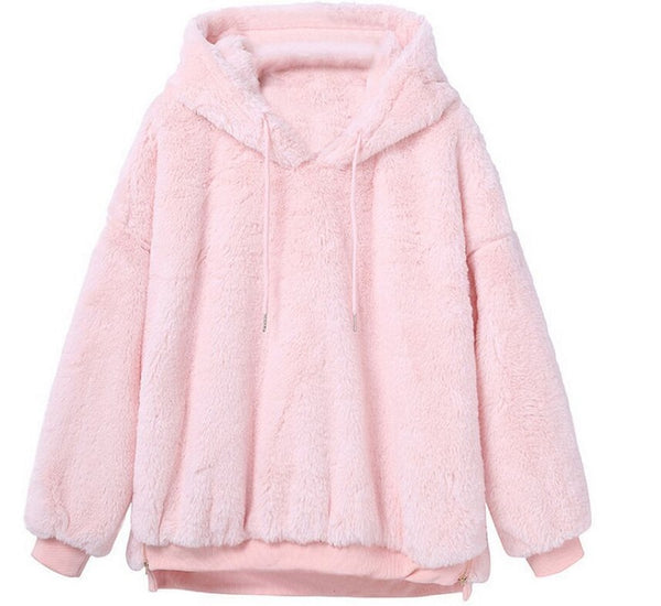 Thick Warm Plush Hoodies Womens Long Sleeve Outwear Coat With Hood