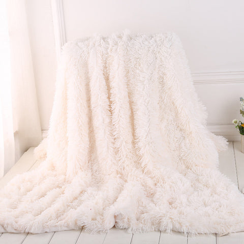 Super Soft Faux Fur Plush Blanket Fleece Sofa Bed Decor Solid Color Fleece Blanket