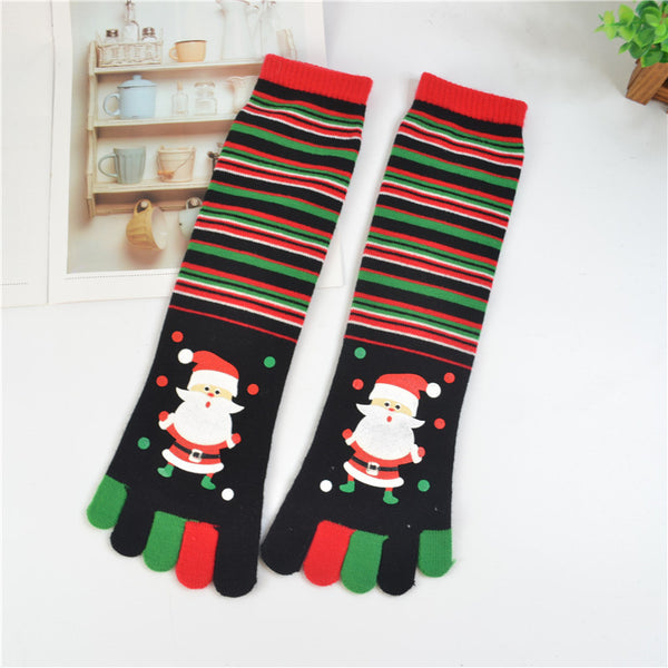 Funny Santa Claus Winter Cotton Soft Warm Christmas 5 Fingers Toes Socks