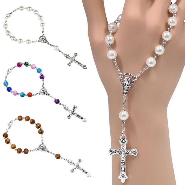 Catholic rainbow one decade pocket rosary beads Our Lady of Sorrows