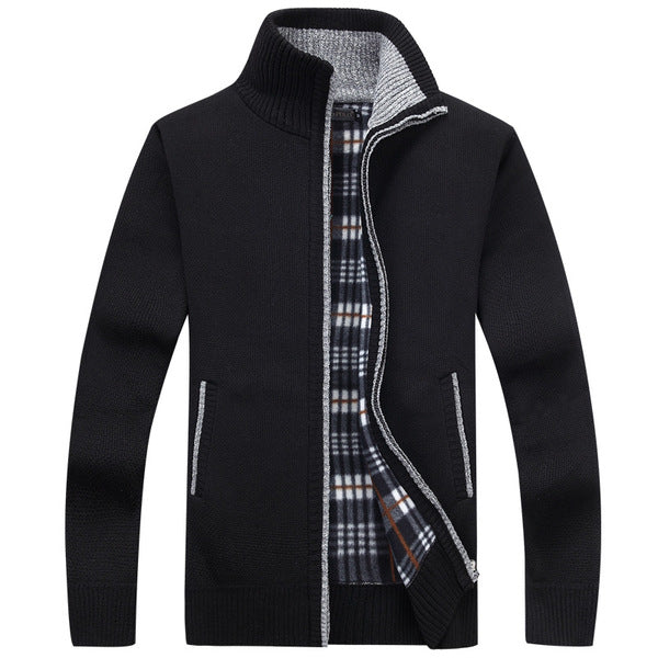 Men Sweaters Long Sleeve Casual Cardigan Thick Sweater Knitting Sweater Outerwear Coat