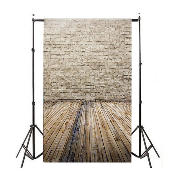 Brick Wall Wood Floor Vinyl Photography Backdrop Photo Background Props 3x5FT