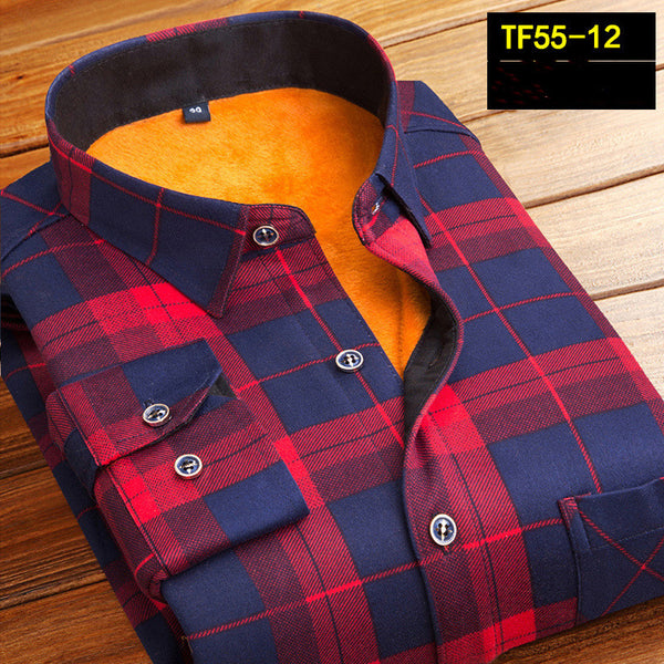 Fashion Men Winter Thick Flannel Warm Plaid Shirts