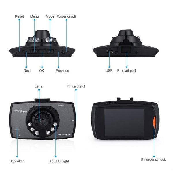 "Car DVR Car Camera G30 2.4"" Full HD 1080P Video Recorder Dash Cam 120 Degree Wide Angle Motion Detection Night Vision G-Sensor"