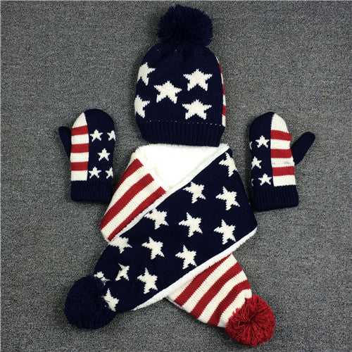 Children Boys Girls Knitted Hat Scarf Gloves Set Winter Warm