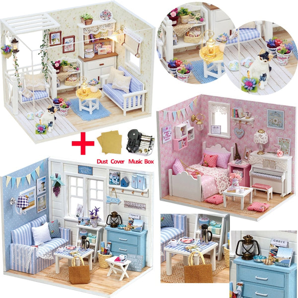 Doll House Furniture DIY Miniature Model Dust Cover 3D Wooden Dollhouse
