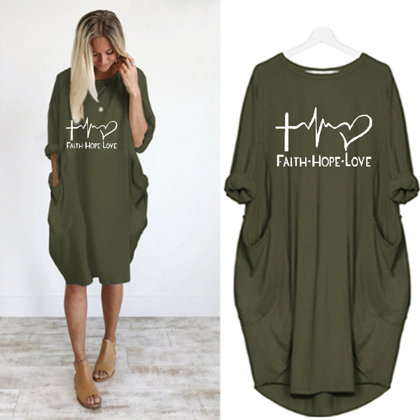 Women Faith Hope Love Dress  Casual Dress