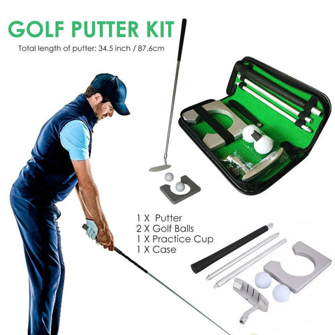 Portable Mini Golf  Practice Kit with Detachable Putter Ball