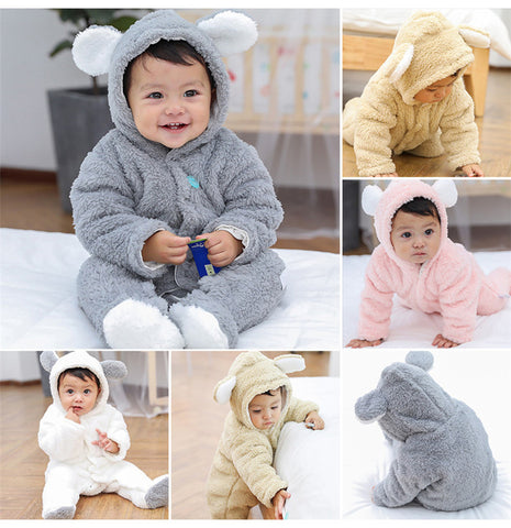 Newborn Baby Cartoon Bear Warm Fleece Hooded Romper Jumpsuit
