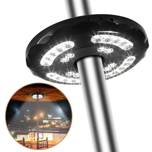 400LM Patio Umbrella Lights Rechargeable 28 LEDs Cordless Umbrella Pole Light for Camping Tents 2 Level Dimming Switch