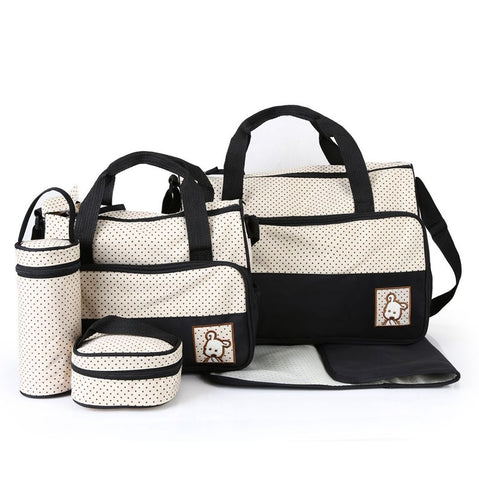 5pcs Baby Diaper Bag Sets Large-capacity Fashionable Mother's Maternity Bag