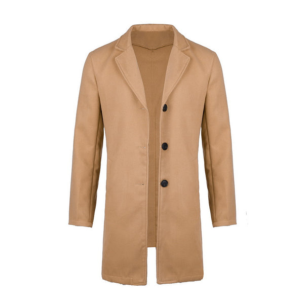 Autumn Winter Mens Brand Fleece blends Jacket Male Overcoat