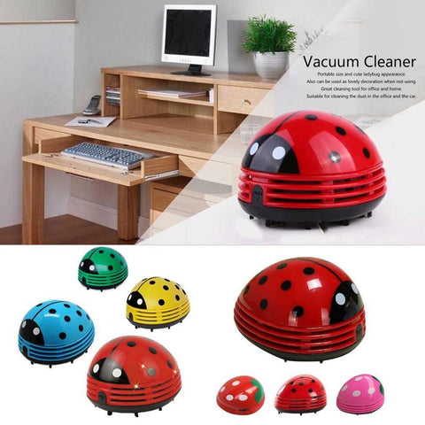 Cute Lovely Ladybug Dust Collector Cleaning Brushes Mini Desktop Vacuum Cleaner