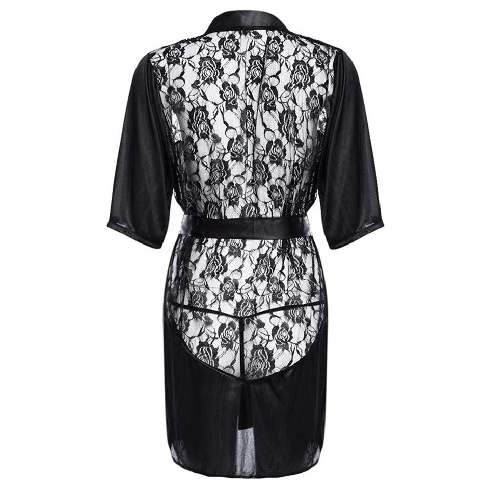 c7ebb799d ... New Hot Sexy Lingerie Plus Size Satin Lace Black Kimono Intimate  Sleepwear Robe Sexy Night Gown ...