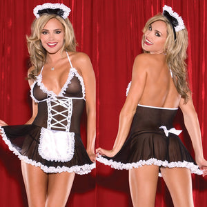 Sexy Costumes Maid Uniform Hot Perspective Lace Babydoll Chemise Erotic Lingerie