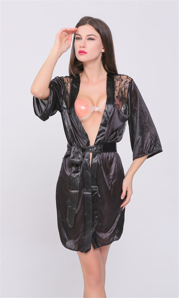 d563c2748ae ... New Hot Sexy Lingerie Plus Size Satin Lace Black Kimono Intimate  Sleepwear Robe Sexy Night Gown ...