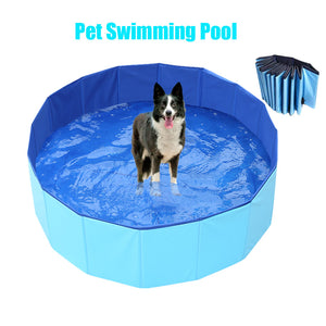 PVC Foldable Dog Swimming Pool Pet Bathing Pool Blue