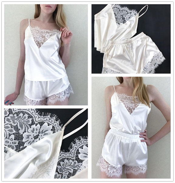 Women Lace Casual Sleeveless Nightgown two pieces Pajama Set
