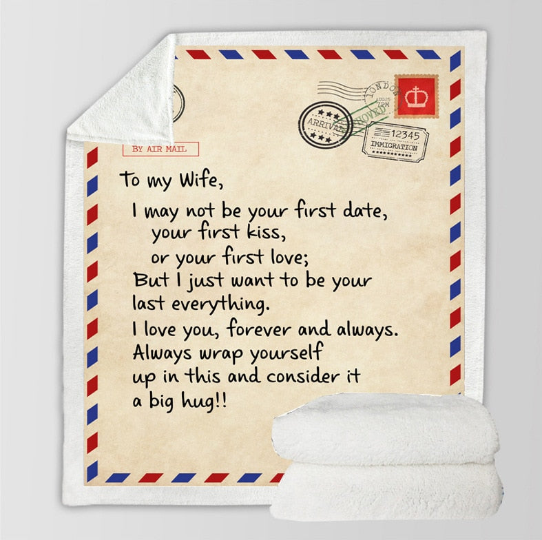Envelope Print Fleece Blanket To Wife To Husband To Daughter To Son Blanket