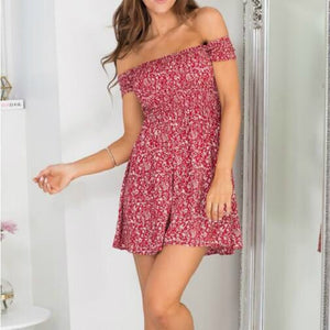 Women Dress Short Sleeve Floral Dress Sexy Off Shoulder Beach Mini Summer Dress