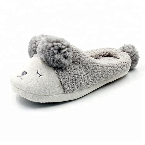 Custom Popular Cute Ladies Novelty Indoor Plush Lamb Flat Slippers