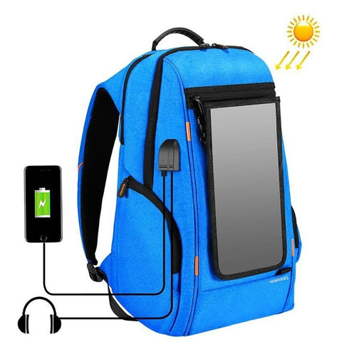 Men Solar Backpack Waterproof Large Capacity 17 inch USB interface Charging Laptop Backpack Outdoor Travel Business Backpack