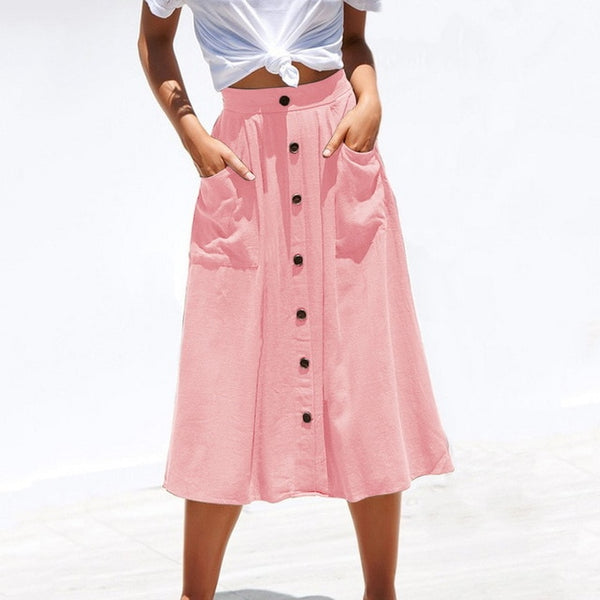Summer High Waist Women Skirts with Buttons