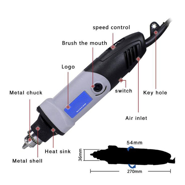 400W Mini Electric Drill For Dremel Rotary Tools Variable Speed Grinder Grinding Toolwith Engraving Accessories