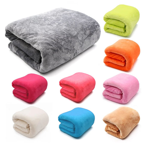 Light Thin Mechanical Wash Flannel Blanket Super Warm Soft Blankets