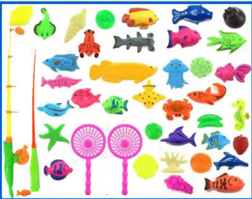 40pcs Fishing Toy Plastic Home Set Portable Fishing Pool Not Included