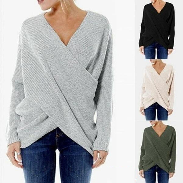 Women Cross Wrap Front Knit V Neck Irregular Hem Jumper Sweater Shirt