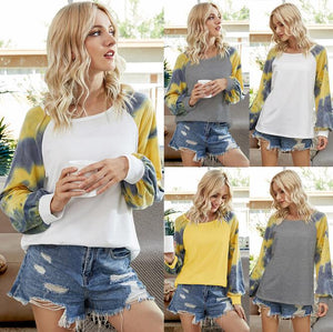 Women Tie Dying Patchwork Match Long Sleeves  Tshirt Top