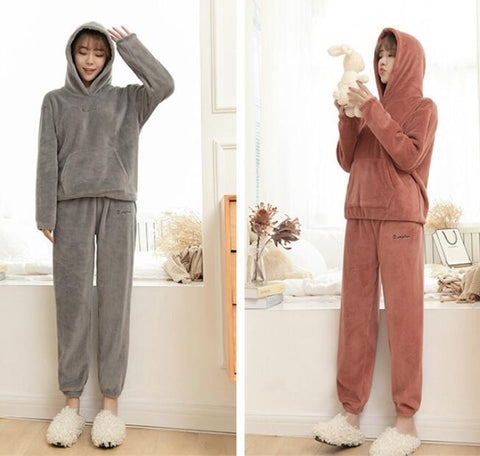 2pcs Set Women Warm Fleece Hooded Sweater with Pocket Fleece Long Pants Set