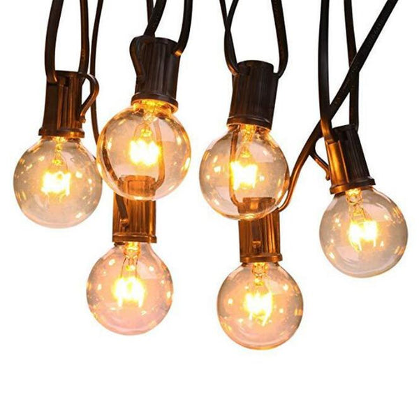 G40 E12 Warm White String Lights with 25 Clear Bulbs Waterproof IP44 Patio Hanging Lights for Indoor & Outdoor Decor