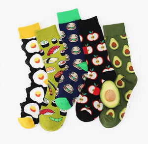 Avocado Apple Fruit Funny Women Socks