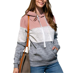 Women Patchwork Long Sleeves Hooded Sweatshirts