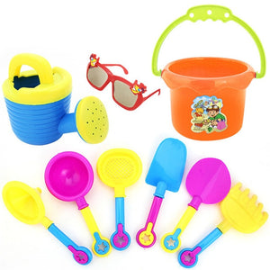 Random Color 9Pcs Kids Sand Beach Toys Castle Bucket Spade Shovel Rake Water Tools Set