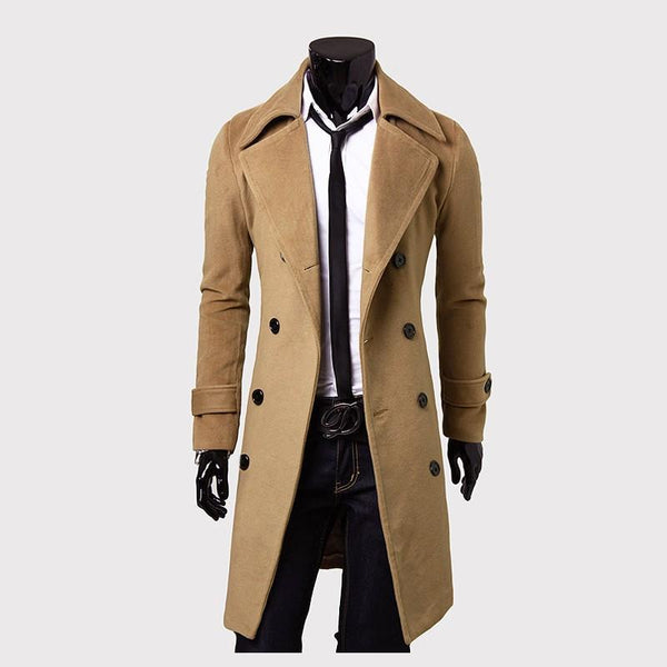Long Slim Men Wool Trench Coat Double-breasted Lapel Windbreaker Male Fashion Coat