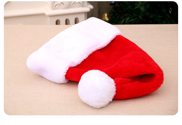 Good quality long plush big ball christmas hat