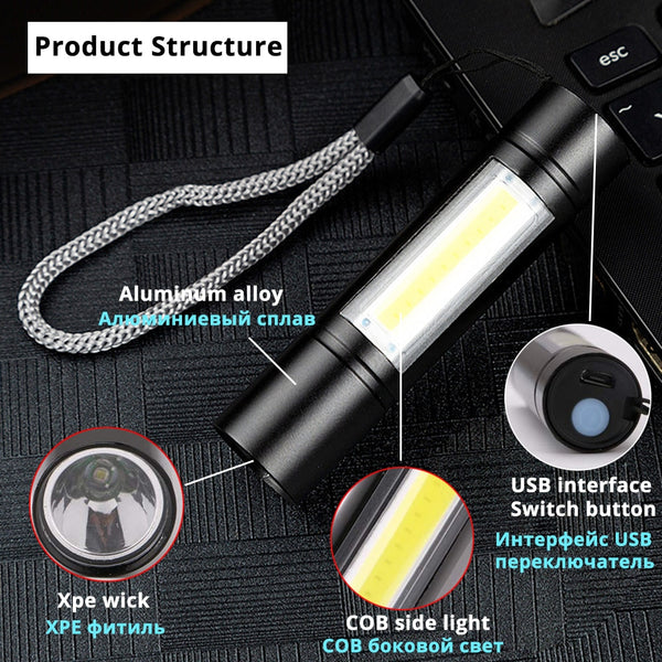 Waterproof USB Rechargeable Flashlight 3 Lighting Mode COB+XPE LED Mini Flashlight