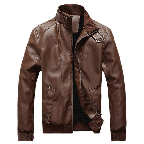 New Fashion Autumn Male PU Leather Jacket Plus Size