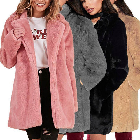 Faux Fur Coat Women Casual Thick Warm Outerwear